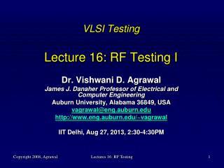 VLSI Testing Lecture 16: RF Testing I