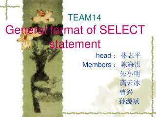 TEAM14 General format of SELECT statement