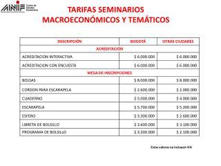 TARIFAS SEMINARIOS MACROECONÓMICOS Y TEMÁTICOS
