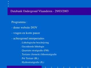 Databank Ondergrond Vlaanderen - 29/03/2003