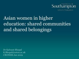 Asian women in higher education: shared communities and shared belongings