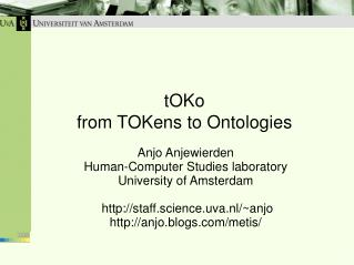 tOKo from TOKens to Ontologies