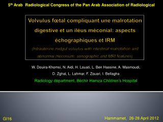 5 th  Arab  Radiological Congress of the Pan Arab Association of Radiological