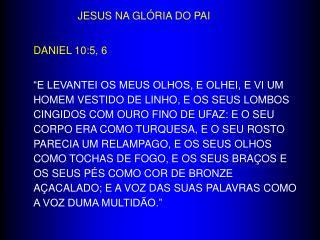 JESUS NA GLÓRIA DO PAI DANIEL 10:5, 6