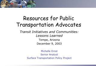 Resources for Public Transportation Advocates