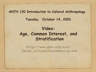 ANTH 120 Introduction to Cultural Anthropology Tuesday,  October 14, 2003