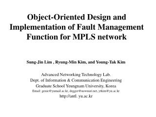 Object-Oriented Design and Implementation of Fault Management Function for MPLS network