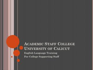 Academic Staff College University of Calicut