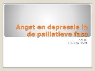 Angst en depressie in de palliatieve fase
