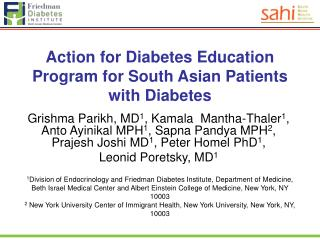 Action for Diabetes Education Program for South Asian Patients with Diabetes