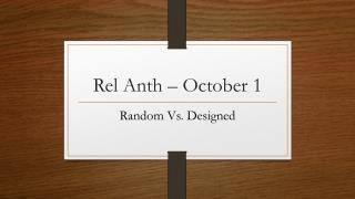 Rel Anth – October 1