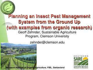 Planning an Insect Pest Management System from the Ground Up with examples from organic research