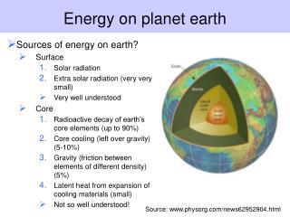 Energy on planet earth