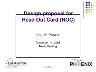 Design proposal for  Read Out Card (ROC)