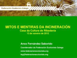 MITOS E MENTIRAS DA INCINERACIÓN Casa da Cultura de Ribadavia 13 de xaneiro de 2012