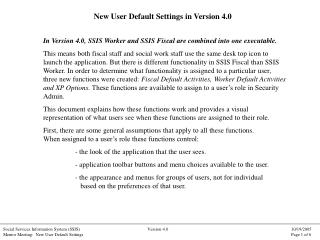 New User Default Settings in Version 4.0