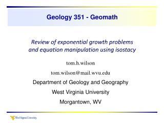 Geology 351 - Geomath