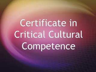 Certificate in Critical Cultural Competence