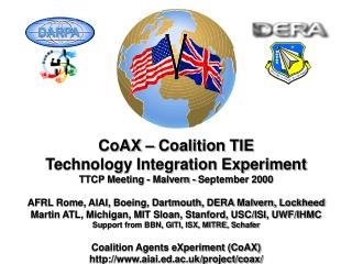 CoAX – Coalition TIE Technology Integration Experiment TTCP Meeting - Malvern - September 2000