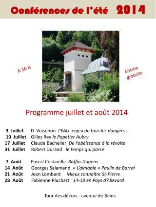 Conférences de l'été    2014