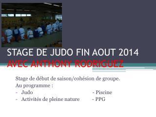 STAGE DE JUDO FIN AOUT 2014  AVEC ANTHONY RODRIGUEZ
