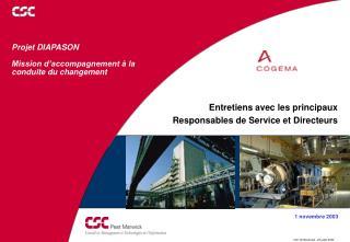 Projet DIAPASON Mission d'accompagnement à la conduite du changement