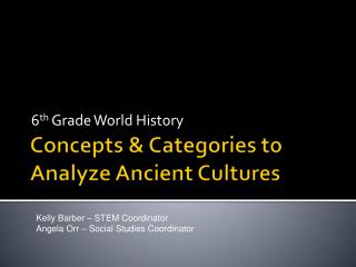 Concepts & Categories to Analyze Ancient Cultures