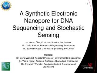 A Synthetic Electronic Nanopore for DNA Sequencing and Stochastic Sensing