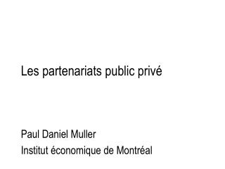 Les partenariats public privé