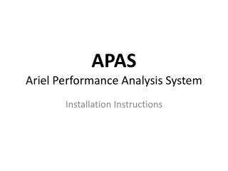 APAS  Ariel Performance Analysis System