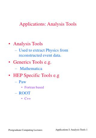 Applications: Analysis Tools