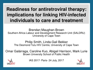 When to initiate ARV therapy in HIV infection