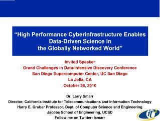 Invited Speaker  Grand Challenges in Data-Intensive Discovery Conference