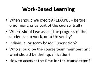 Work-Based Learning
