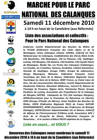 MARCHE POUR LE PARC  NATIONAL  DES CALANQUES