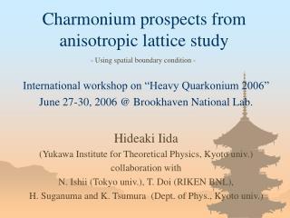 Charmonium prospects from anisotropic lattice study