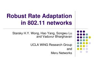 Robust Rate Adaptation in 802.11 networks