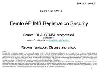 Femto AP IMS Registration Security