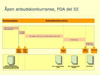 Åpen anbudskonkurranse, FOA del III