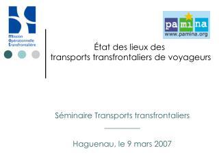 État des lieux des  transports transfrontaliers de voyageurs