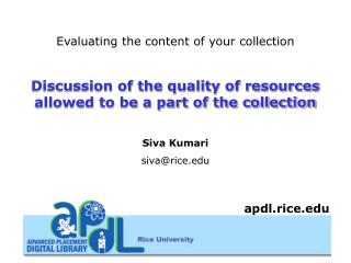 Evaluating the content of your collection