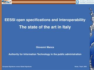 EESSI open specifications and interoperability The state of the art in Italy Giovanni Manca