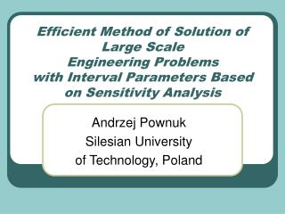 Andrzej Pownuk Silesian University  of Technology, Poland