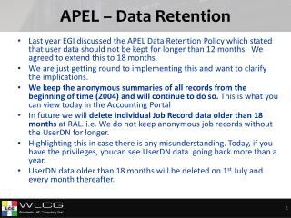 APEL – Data Retention