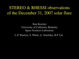 STEREO & RHESSI observations of the December 31, 2007 solar flare