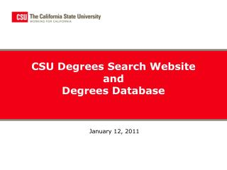 CSU Degrees Search Website  and  Degrees Database