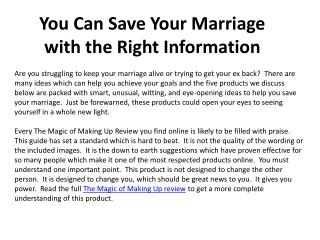 You Can Save Your Marriage with the Right Information