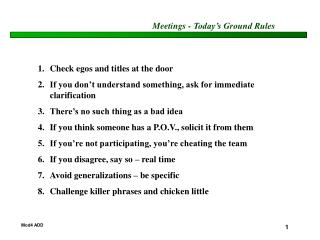 Meetings - Today's Ground Rules