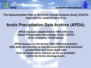 "ACSYS APDA: Location of ""Arctic"" SYNOP stations in GPCC's data bank"