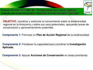 Componente 1:  Formular un  Plan de Acción Regional  de la biodiversidad.
